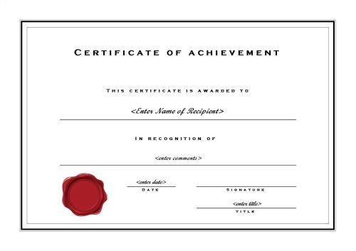 Certificate Of Achievement 002 within Microsoft Word Certificate Templates