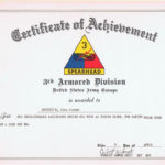 Certificate Of Achievement, 3Rd Armored Division U.s. Army Intended For Fresh Certificate Of Achievement Army Template