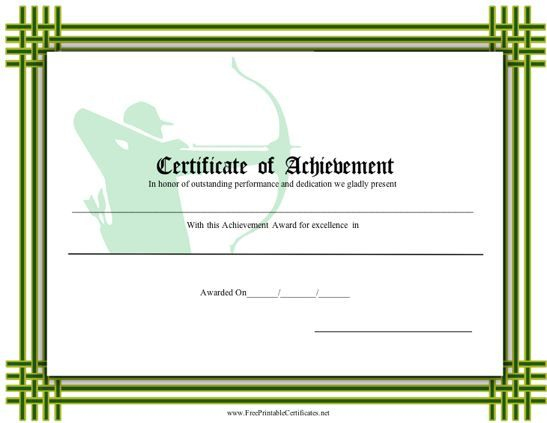 Certificate Of Achievement - Archery Printable Certificate intended for Fresh Blessing Certificate Template Free 7 New Concepts