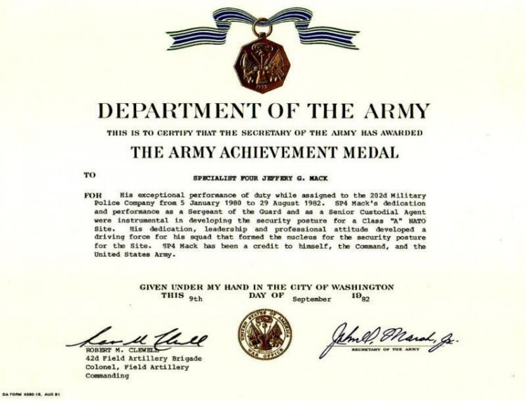 Certificate Of Achievement Army Template (2) - Templates regarding Certificate Of Achievement Army Template