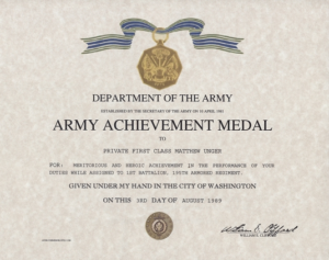 Certificate Of Achievement Army Template Army Achievement intended for Army Certificate Of Appreciation Template