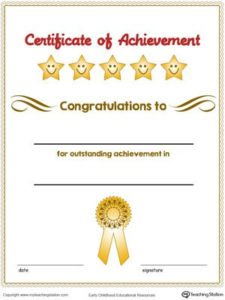 Certificate Of Achievement Award In Color   Certificate Of within Certificate Of Accomplishment Template Free