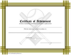 Certificate Of Achievement – Baseball Printable Certificate Throughout Baseball Achievement Certificates