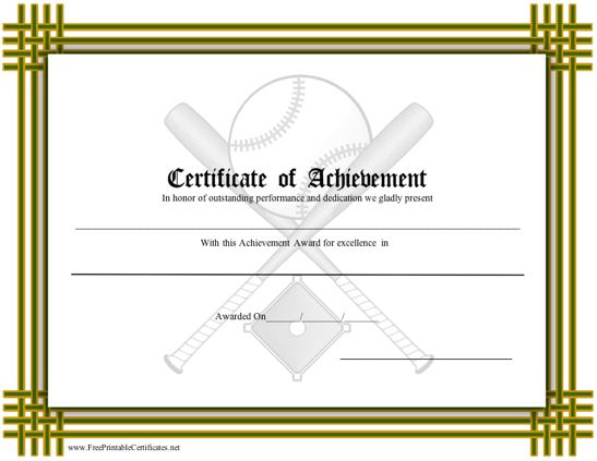Certificate Of Achievement - Baseball Printable Certificate throughout Baseball Achievement Certificates