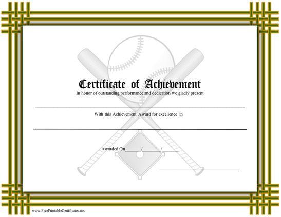 Certificate Of Achievement - Baseball Printable Certificate with Baseball Achievement Certificate Templates
