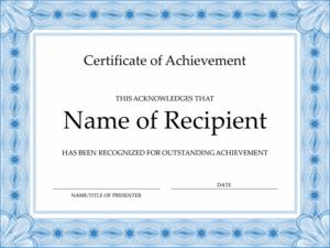 Certificate Of Achievement (Blue) in Unique Word Template Certificate Of Achievement