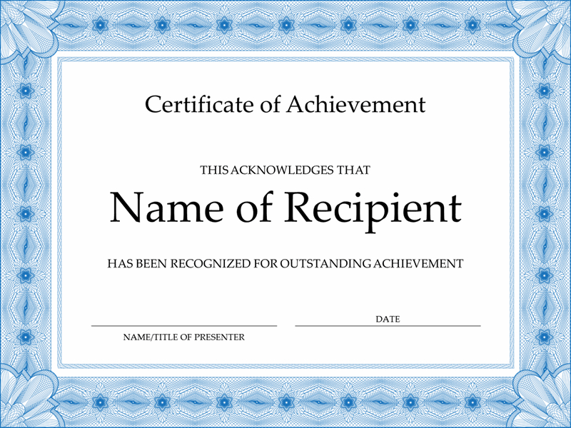 Certificate Of Achievement (Blue) in Unique Word Template Certificate Of Achievement