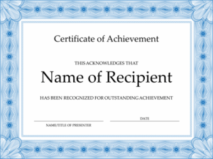 Certificate Of Achievement (Blue) regarding New Certificate Of Excellence Template Word