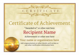 Certificate Of Achievement – Free Templates Easy To Use in New Certificate Of Accomplishment Template Free