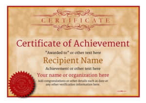 Certificate Of Achievement – Free Templates Easy To Use Regarding Free Printable Certificate Of Achievement Template