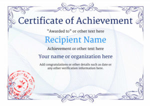 Certificate Of Achievement – Free Templates Easy To Use regarding Fresh Certificate Of Attainment Template