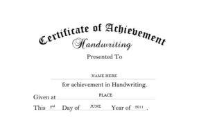 Certificate Of Achievement Handwriting Free Templates Clip in Handwriting Award Certificate Printable