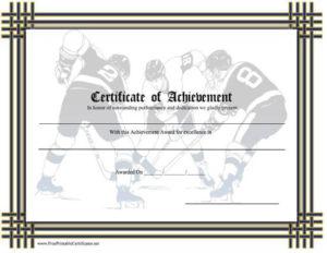Certificate Of Achievement – Hockey Printable Certificate intended for Best Hockey Certificate Templates