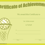 Certificate Of Achievement In Netball Printable Certificate Inside Netball Participation Certificate Editable Templates
