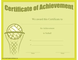 Certificate Of Achievement In Netball Printable Certificate intended for Netball Certificate Templates