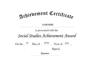 Certificate Of Achievement In Social Studies Free Templates with regard to Social Studies Certificate
