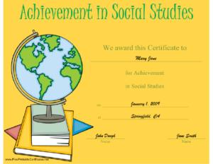 Certificate Of Achievement In Social Studies Printable throughout Social Studies Certificate