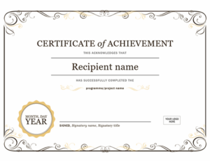Certificate Of Achievement inside Unique Word Template Certificate Of Achievement