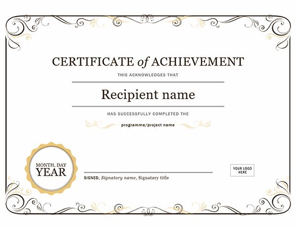 Certificate Of Achievement regarding Unique Certificate Of Achievement Template Word
