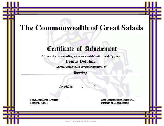 Certificate Of Achievement - Runners Printable Certificate throughout New Running Certificate Templates 10 Fun Sports Designs