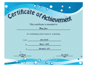 Certificate Of Achievement – Swimming Printable Certificate in Best Swimming Achievement Certificate Free Printable