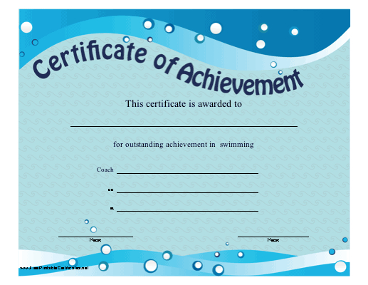 Certificate Of Achievement - Swimming Printable Certificate regarding Swimming Certificate Template