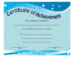 Certificate Of Achievement – Swimming Printable Certificate within Fresh Swimming Certificate Templates Free