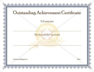 Certificate Of Achievement Template Awarded For Different intended for Outstanding Performance Certificate Template