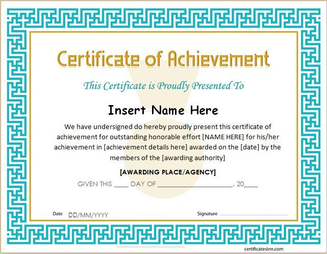 Certificate Of Achievement Template For Ms Word Download A in Certificate Of Achievement Template Word