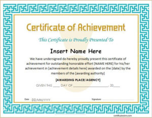 Certificate Of Achievement Template For Ms Word Download A pertaining to New Word Certificate Of Achievement Template