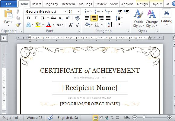 Certificate Of Achievement Template For Word 2013 in Microsoft Word Certificate Templates