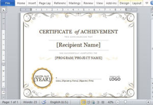Certificate Of Achievement Template For Word 2013 intended for Quality Certificate Of Achievement Template Word