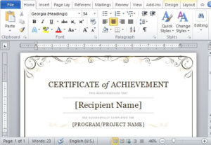 Certificate Of Achievement Template For Word 2013 intended for Unique Certificate Of Achievement Template Word