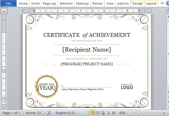 Certificate Of Achievement Template For Word 2013 with regard to Certificate Of Achievement Template Word