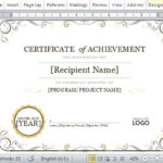 Certificate Of Achievement Template For Word 2013 With Regard To Unique Word Template Certificate Of Achievement
