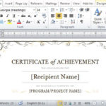 Certificate Of Achievement Template For Word 2013 Within Downloadable Certificate Templates For Microsoft Word