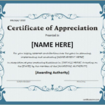 Certificate Of Achievement Template Word (6) – Templates Ex In Formal Certificate Of Appreciation Template