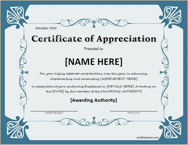 Certificate Of Achievement Template Word (6) - Templates Ex in Formal Certificate Of Appreciation Template
