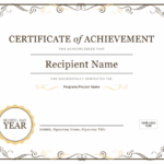 Certificate Of Achievement With Word Template Certificate Of Achievement