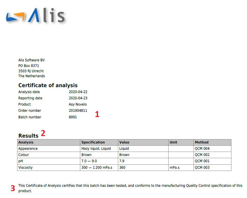 Certificate Of Analysis - Alisqi Help Center regarding Certificate Of Analysis Template