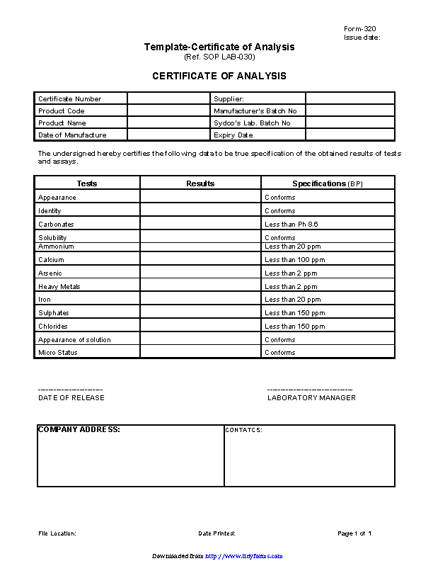 Certificate Of Analysis Template (1) - Templates Example for Certificate Of Analysis Template