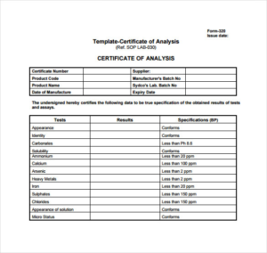 Certificate Of Analysis Template (4) | Professional inside Unique Certificate Of Analysis Template