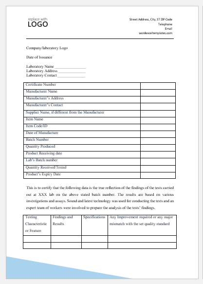Certificate Of Analysis Templates For Ms Word | Word & Excel for Certificate Of Analysis Template