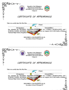 Certificate Of Appearance Template (6) – Templates Example regarding New Certificate Of Appearance Template
