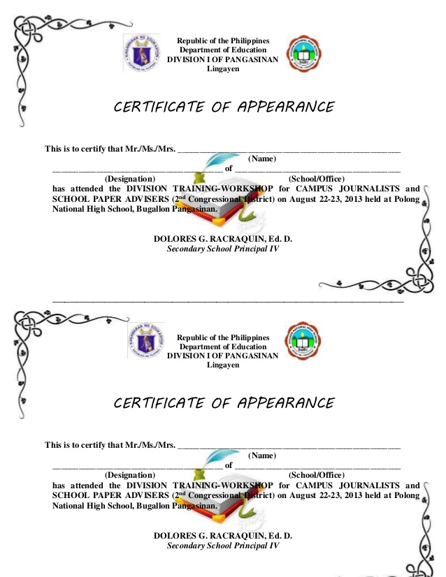 Certificate Of Appearance Template (6) - Templates Example regarding New Certificate Of Appearance Template