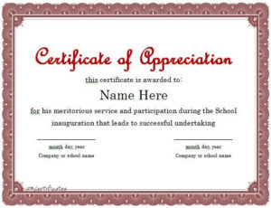 Certificate Of Appreciation 01 | Certificate Of With Quality Sample Certificate Of Recognition Template