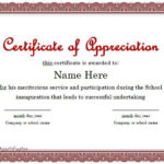 Certificate Of Appreciation 01 | Certificate Of With Regard To Best Formal Certificate Of Appreciation Template