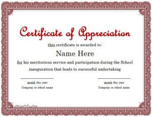 Certificate Of Appreciation 01 | Certificate Of with regard to In Appreciation Certificate Templates