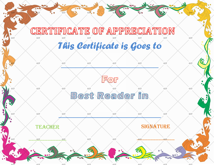 Certificate Of Appreciation For Accelerated Reader - Gct regarding Accelerated Reader Certificate Templates