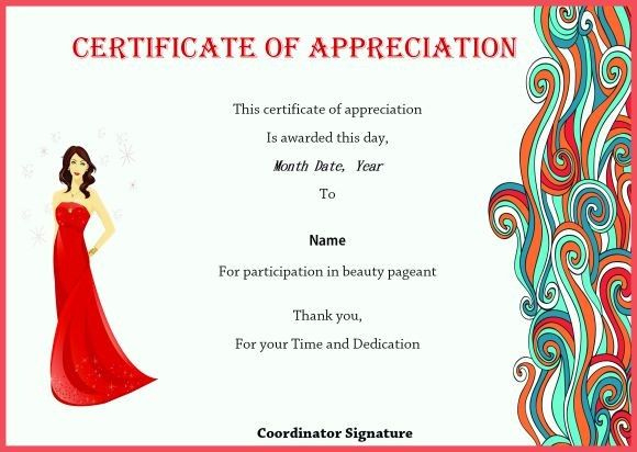 Certificate Of Appreciation For Beauty Pageant On Beauty Throughout Unique Pageant Certificate Template